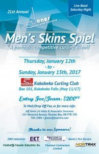 We're celebrating the 21st Annual Men's Skin's Spiel on Thursday January 12th to Sunday January 15th, 2017.